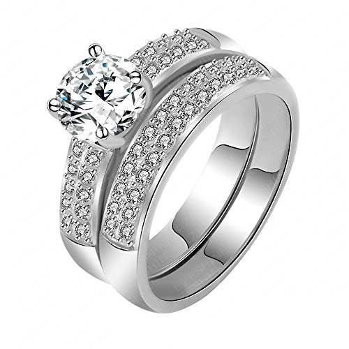 The New Style of the Platinum Gold Ring Inlaid with Diamond Engagement Rings 0110-b (us 6) by weidan jewelry