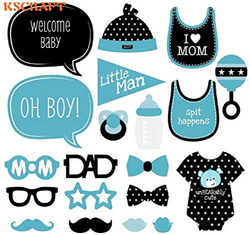 Props Party Props for Infant Photography 20pcs Blue Boy DIY Photo Props Baby Shower Decoration Birthday Party Kids Favors Fun Mask Photography Event Supplies ()