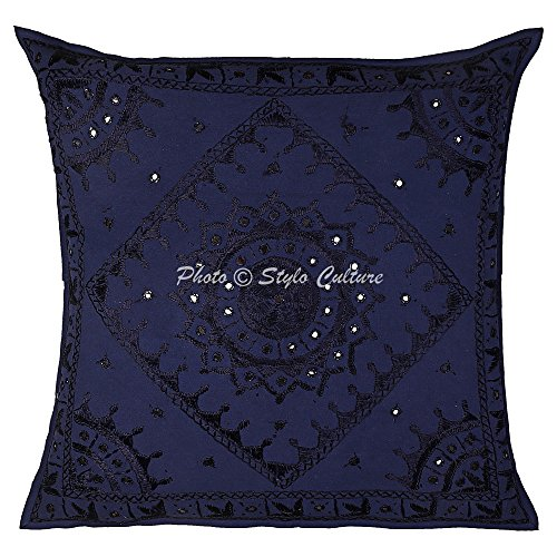 Stylo Culture Cotton Embroidered Throw Pillow Cover 24 x 24 Christmas Blue Indian Large Cushion Cover Decorative Mirrored Embroidered Bohemian Square Pillowcase 60x60 cm