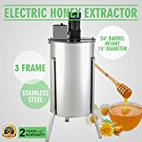 OrangeA Honey Extractor Bee Honey Extractor Electric Honeycomb Spinner 3 Three Frame Stainless Steel Beekeeping Accessory (3 Frame Electric Honey Extractor)