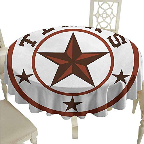 duommhome Texas Star Spill-Proof Tablecloth Round Symbol with Lone Star Earth Toned Monochromatic Illustration Easy Care D51 Dark Brown and Brown]()