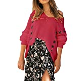 Women Tops Daoroka Ladies Sexy Long Sleeve Knitted V Neck Printed Pullover Tunic Blouse Casual Loose Fashion Autumn Winter Cute Comfort Soft Crop T Shirt
