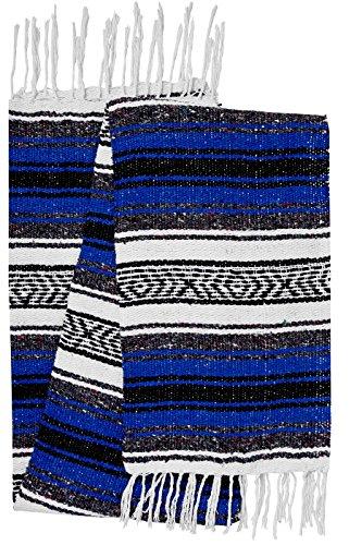 - El Paso Designs Genuine Mexican Falsa Blanket - Yoga Studio Blanket, Colorful, Soft Woven Serape Imported from Mexico (Blue)