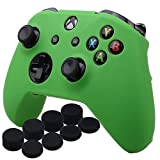 Cheap YoRHa Silicone Cover Skin Case for Microsoft Xbox One X & Xbox One S controller x 1(green) With Pro thumb grips 8 pieces