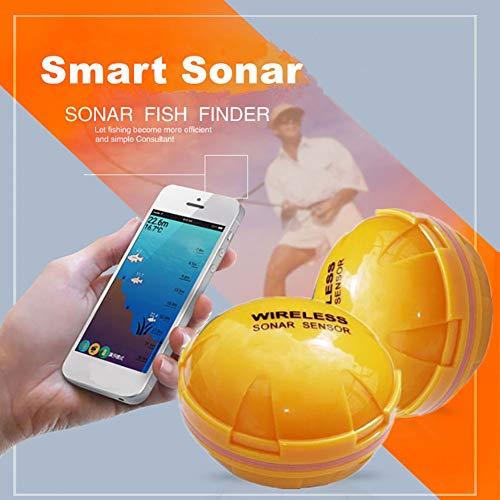hAohAnwuyg Mobile Phone Wireless Fishfinder,HD Night Vision Fish Finder,Smart Sonar Sensor Sounder, Fishing Rod Detector for Deep Sea Lake (Best Rod For Redfish)