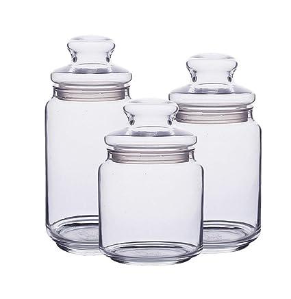 Spice Jar 3 Botellas Redondas Redondas Transparentes De Especias Con Tapas De Vidrio Transparente Almacenamiento Hermético