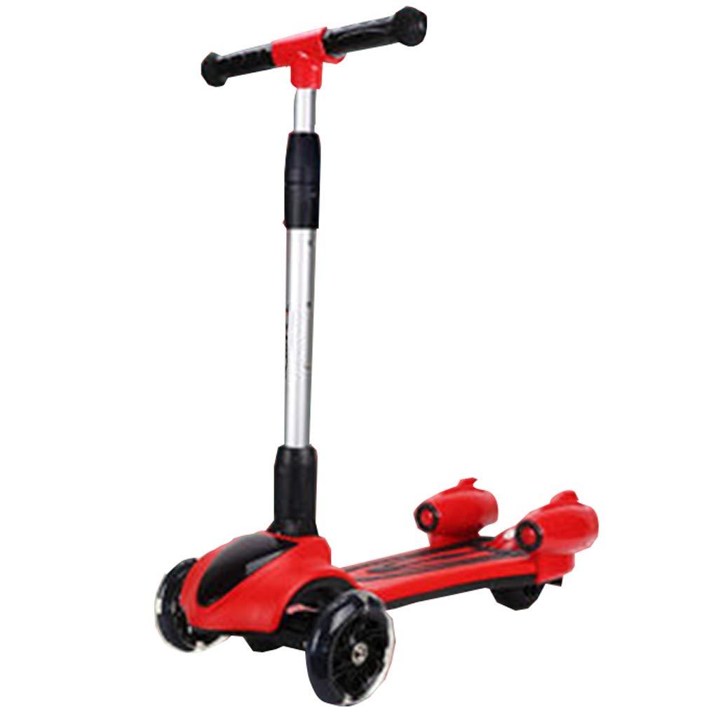 ライトアップホイール折りたたみ式デザイン調整可能ハンドルを備えたキッズスクーターはライトと音楽軽量構造を操縦するのに傾いています子供に最適3-8歳 A