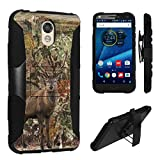 DROID Turbo 2 Case, DuroCase ® Hybrid Dual Layer Combat Armor Style Kickstand Case w/ Belt Clip Holster Combo for Motorola DROID Turbo 2 XT1585 / Moto X Force XT1580 - (Hunter Deer Camo)