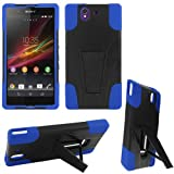 Case+Stylus, Hard Plastic Snap on Cover Fits Sony-Ericsson C6603 L36h C6606 C6602 Xperia Z, Yuga Hybrid Case Y Blue Black Stand