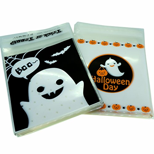 Halloween Treat Bags for Candy Cookie Chocolate Gift Wrapping Packaging, Pack of 95, 10x10cm, 2 Designs Mix (Creative Homemade Halloween Treats)