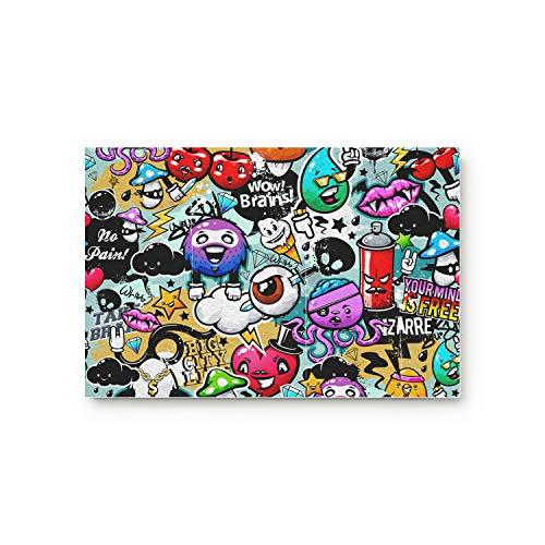 YEHO Art Gallery Doormat for Indoor Outdoor Entrance Rug Floormat,Bedroom Bathroom Living Room Front Mats Carpet,Halloween Cartoon Graffiti Doodle Pattern,18x30 Inch -