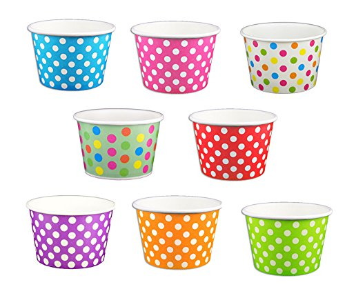 - Black Cat Avenue Paper Ice Cream Cups, Polka Dot, Mix, 8 Ounce, 50 Count