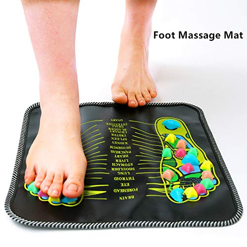 Foot Massage Walking Mat Pad Reflexology Acupressure Relaxing Pressure Muscle Pain Relieve (Black)