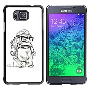 Be Good Phone Accessory // Dura Cáscara cubierta Protectora Caso Carcasa Funda de Protección para Samsung GALAXY ALPHA G850 // grumpy old man retired white black