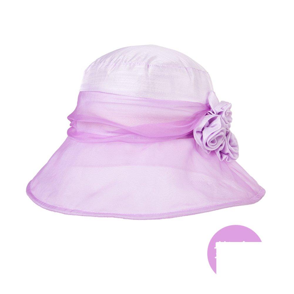 Ms. summer elegant silk hat/Sunscreen large brimmed hat/Collapsible sun hat sweet flower-D Adjustable