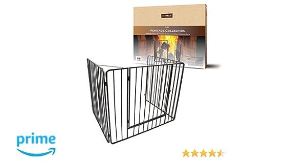 De Vielle - Protector de chimenea con puerta, cuidado para los niños, metal, negro, 91 x 76 x 70 cm: Amazon.es: Hogar
