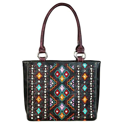 - Montana West Tote Handbag Western Embroidered Aztec Tribal Print Purses MW622-8559 (Black)
