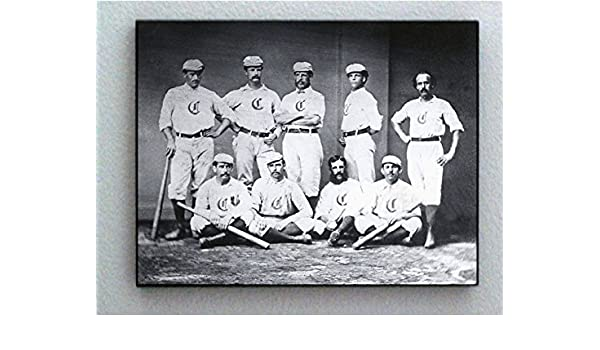 Rare Framed 1869 FIRST Pro Baseball Team Cincinnati Red Stockings Photo Print