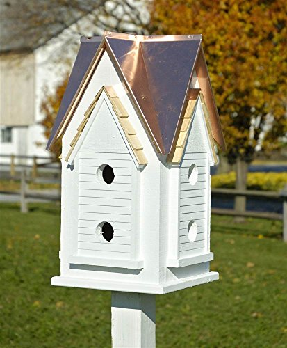 Heartwood Victorian Mansion Bird House w White Bright Copper -