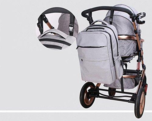 HJXJXJX Pañal Bolsa Mochila de gama alta de hombro Bolso de la momia 300D material mate bolsa multifuncional de gran capacidad de la madre del bebé de la madre , gray gray