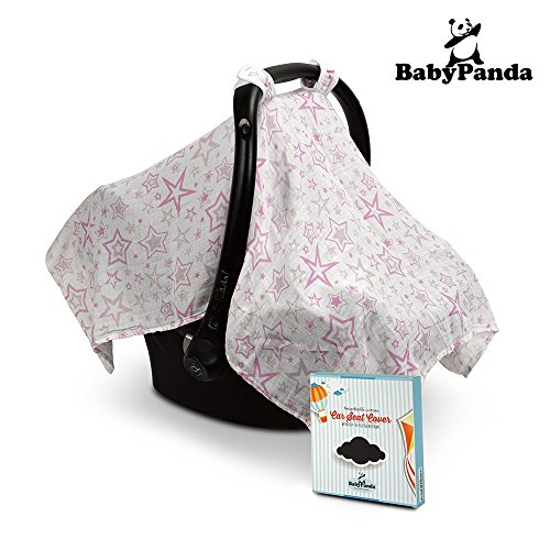 Baby-Car-Seat-Cover-by-BabyPanda-All-Cotton-White-with-Pink-Stars-Infant-Carrier-Canopy-Nursing-or-Swaddle-Cover-with-Velcro-Straps-Plus-Free-Ebook