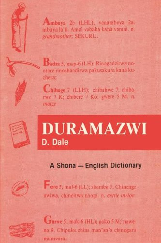 Duramazwi: A Shona - English Dictionary by Brand: Mambo Press