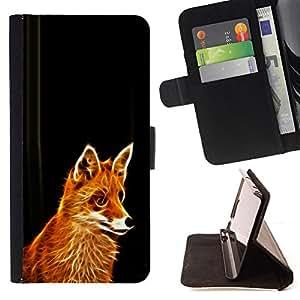 BullDog Case - FOR/HTC One M7 / - / fox red ginger fur animal forest cunning fairytale /- Monedero de cuero de la PU Llevar cubierta de la caja con el ID Credit Card Slots Flip funda de cuer