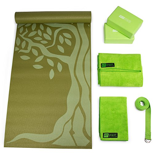 Fit Spirit Yoga Starter Set Kit - Includes 6mm PVC Exercise Mat Yoga Blocks Yoga Towels Yoga Strap Green