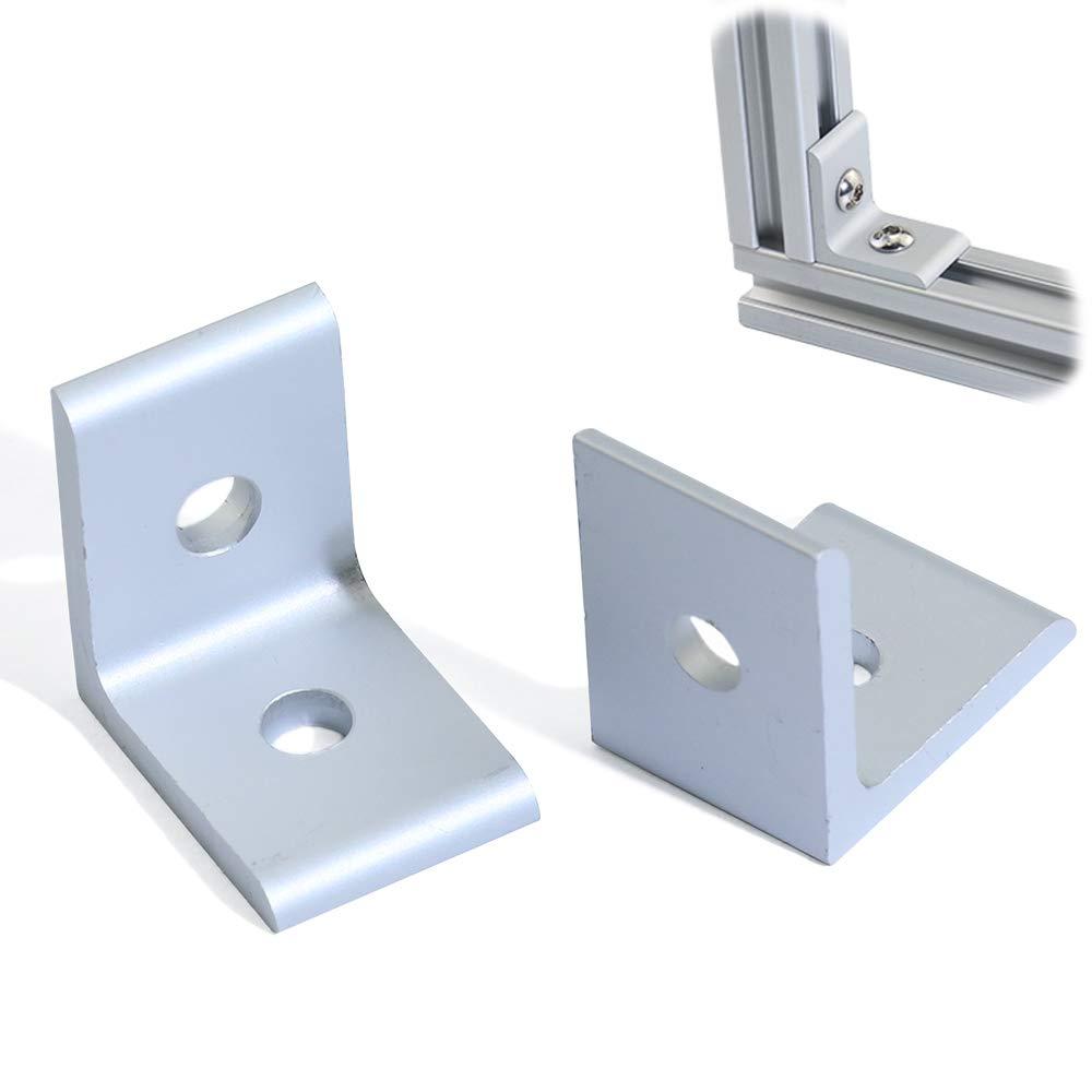 Boeray 10pcs 2 Hole Inside Corner Bracket for 2020 Aluminum Extrusion Profile 20x20 with Slot 6mm 10pcs