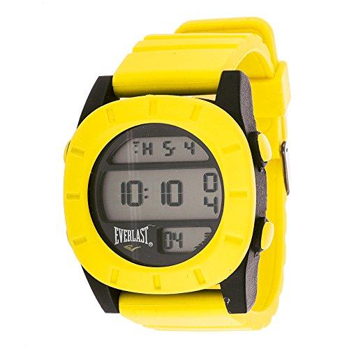 Everlast Sport Men's Digital Round Watch with Yellow Rubber Strap