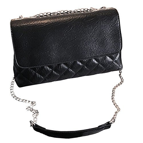Moda Señoras Cuadros Bolso De Cadena Simple Bandolera Suave Mini Bolsas De Mensajero Para El Bolso De Noche De Las Mujeres Black