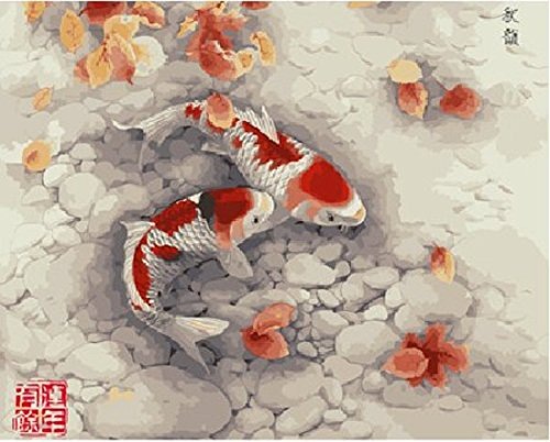 Colour Talk Diy oil painting, paint by number kit- Koi 16x20 inch