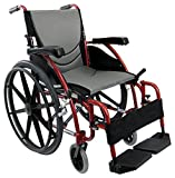 "Karman S-ERGO115F16RMG Ultra Lightweight Ergonomic Wheelchair with Swing Away Footrest and Mag Wheels, Red, 16"" Seat Width, Fixed Wheel & FREE Wheelchair Seat Belt!"
