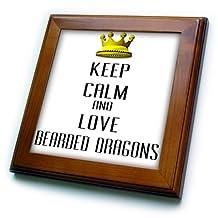 ft_120943_1 Blonde Designs Gold Crown For Keep Calm Love Animals - Gold Crown Keep Calm And Love Bearded Dragons - Framed Tiles - 8x8 Framed Tile