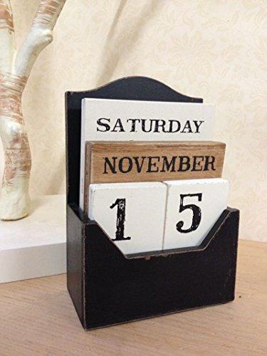 - Vintage Wooden Block Perpetual Calendar Shabby Rustic Tile Design Desk Accessory
