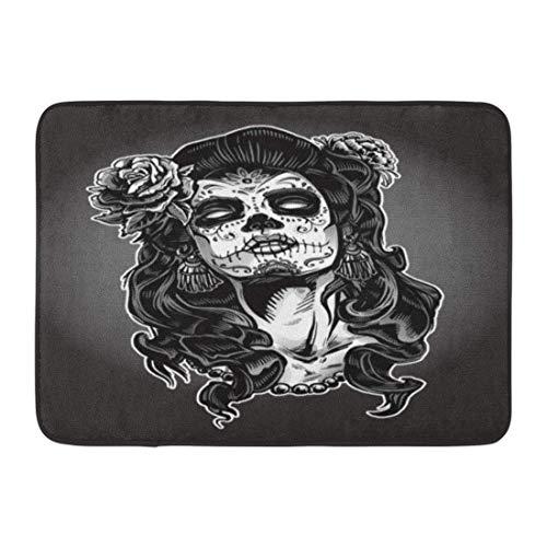 Koperororo Doormats Bath Rugs Outdoor/Indoor Door Mat Gray Tattoo Woman Sugar Skull Face Paint Dead Day Zombie Halloween Bathroom Decor Rug 16