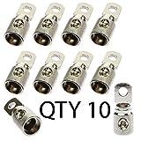 (10) Voodoo 1/0 Ga GAUGE AWG 5/16'' Bright Nickel set screw Power Ring Terminal Qty 10