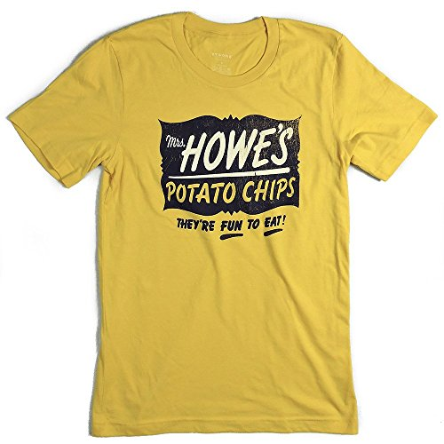 Bygone Brand Men's Mrs Howes Potato Chips Milwaukee Shortsleeve T-shirt L Yellow (Mrs Potato Shirt)