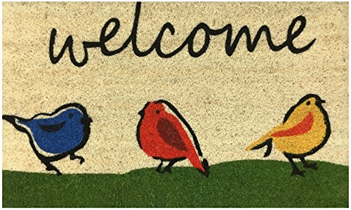 Welcome Outdoor Mat (Welcome Doormat by Castle Mats, Size 18 x 30 inches, Non-Slip, Durable, Made Using Odor-Free Natural Fibers)