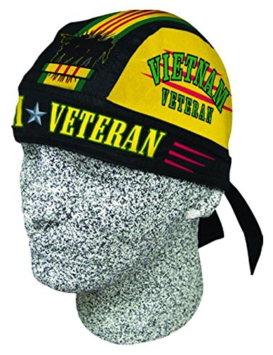 Vietnam Vet Veteran Doo Rag Headwrap Skull Cap Military Durag Sweatband by ZIZI SPORTS SUPPLY