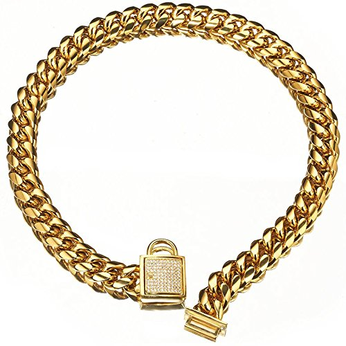 Abaxaca Designer Dog Collar Gold Metal Stainless Steel with Zirconia Lock 14mm 18K Gold Big Dog Luxury Training Collar Cuban Lock Link Necklace Chain (20 inch) (Designer Dog Collar And Leash)