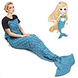 Knit Mermaid Sofa Blanket, Warm And Soft Fish-Scale Handmade Mermaid Tail Blanket All Seasons Sleeping Bag for Adult Teen,Panda Santa (Lake Blue)