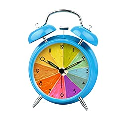 Enjoy Best Time Cool Lemon Cute Silent Loud Wake Up Desktop Decor Clock For Office Twin Bell Alarm And Smart Light Girls Alarm Clock-(Blue)