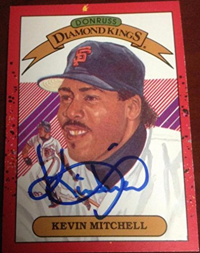 Kevin Mitchell Autographed 1990 Donruss Diamond Kings - 1990 Donruss Diamond