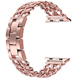 Wearlizer Pink Rose Gold Compatible Apple Watch Band 42mm Womens iWatch Cowboy Chain Wrist-Bands Stainless Steel Replacement Strap Metal Bracelet Removal Link,Series 3 2 1 Sport Edition