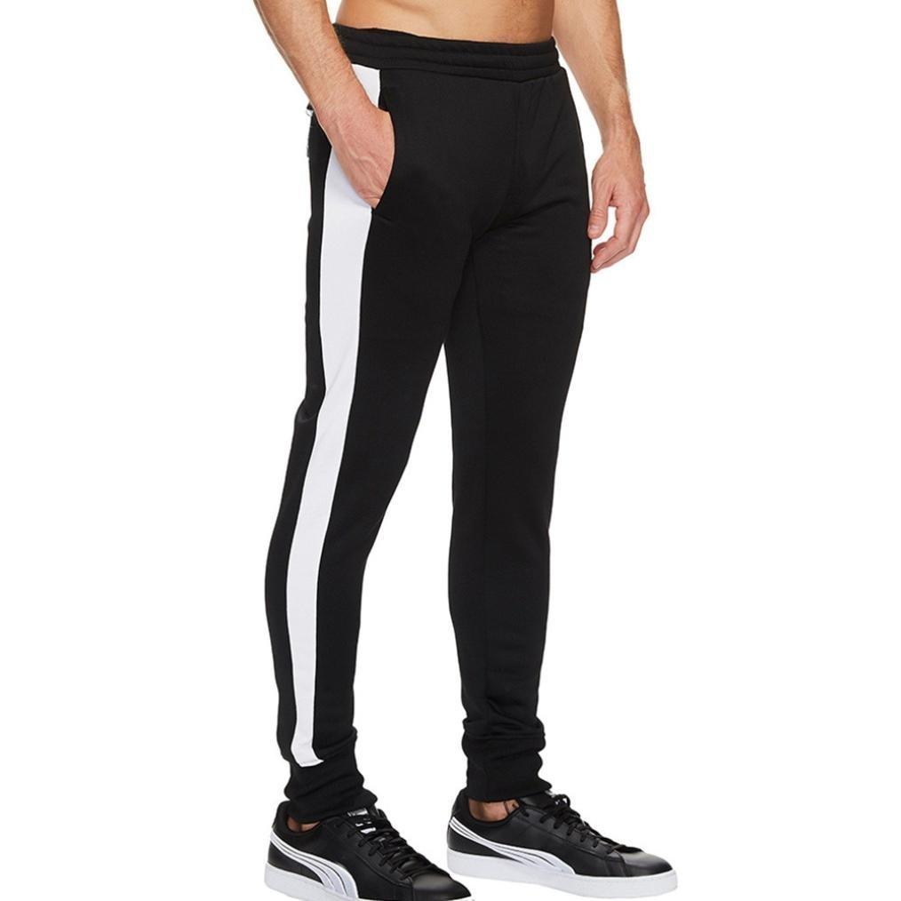 OWMEOT Men's Running Trousers -Fleece Sweatpant (Black, L)