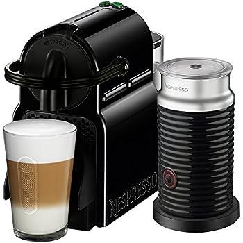 Cafetera Nespresso Inissia con Espumador de leche, Color Negra. (Incluye obsequio de 14 cápsulas de café)