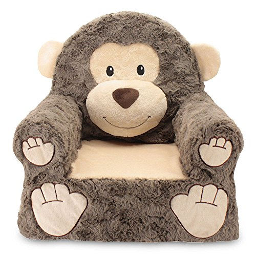 Brown Monkey (Sweet Seats Sturdy, Soft, Cozy and Adorable, Plush Monkey Chair in Brown with Sweet Embroidered Details on the Face, Hands and Feet)