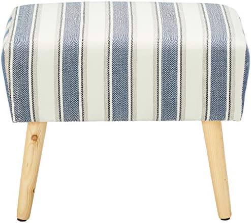 Adeco Stool Seat-Modern Simple Nordic Stripes-17 Inches Height Ottoman Footrest, Blue Stripes