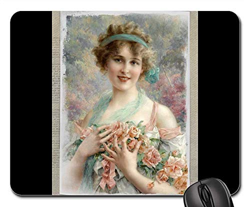 (Mouse Pads - Vintage Woman Art Collage Roses Floral)